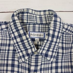 Yves Saint Laurent Blue White Check Linen Shirt